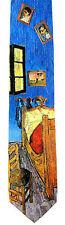 Vincent Van Gogh Men's Neck Tie Art Artist Bedroom At Arles Silk Blue Necktie