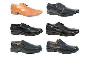 Mens Formal Smart Work Shoes Oxford Brogues Size 6 - 12 Leather Lace Up Slip On