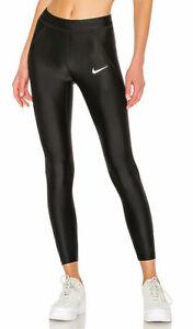 Nike Speed Leggings leggins glänzend 7/8 schwarz Tights Sport Größe XS (2/3)