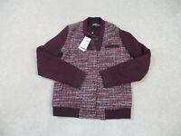 NEW Members Only Jacket Womens Small Red Maroon Wool Blend Coat Ladies B71
