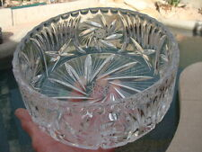 """Stunning Bohemian Clear Lead Cut Crystal Large Round Bowl. Salad Fruits Bowl 8"""""""