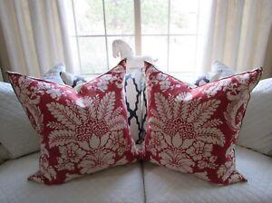 """Schumacher Terra Cotta Mulberry Damask Pillows 26"""" Set of 2"""