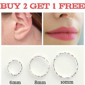 Sterling Silver Nose Ring Hoop Thin Tragus Helix Ear Lip Nipple Septum Piercing