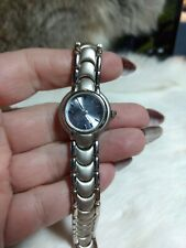 COTE D'AZUR WOMENS BRUSHED SILVERTONE LINK WATCH - BLUE FACE