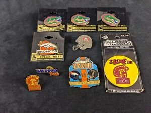 Lot Of Eight Go Team Sports Pins Florida Gators, Denver Broncos, Super Bowl XXXI