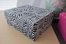 New Zebra Pattern Black & White Keepsake Makeup Box Case