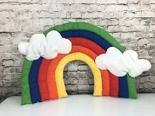 Vintage Handmade Quilted Fabric Rainbow Cloud Wall Nursery Decor Decoration