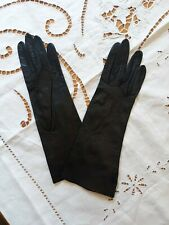 """Vintage Black Kid Leather Gloves 11.5"""" Long Made in Italy Unlined Size small"""