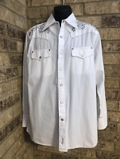 Fender Custom Shop By Da Vinci White Pearl Snap Dress Shirt Men's Size XL