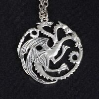 Game Of Thrones Triple Dragon Necklace Silver Plated Pendant Black Velvet Pouch