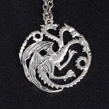 GAME OF THRONES TRIPLO DRAGON COLLANA SILVER PLATED PENDANT BLACK VELVET POUCH