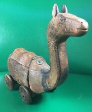 Antique Primitive Hand Carved Wood Toy CAMEL On Wheels w/storage Very Nice