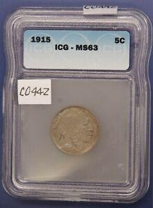 1915 Buffalo Nickel, ICG MS63, Choice Uncirculated, Graded in Holder, C442