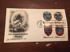 1980 Northwest Indian Masks Stamp Block First Day Cover