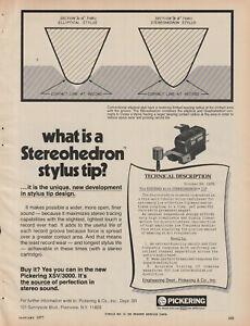 Pickering - XSV/3000 Phono Cartridge - Original Magazine AD - 1977