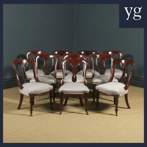 Antique English Victorian Set of Ten 10 Mahogany Bow Back Dining Room Chairs