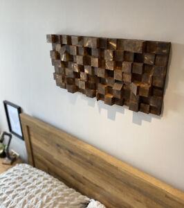 Dark Oak Stain Wood Wall Art, Geometric Art, Wooden Mosaic Abstract 3D Cube H/M