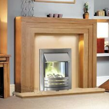 ELECTRIC OAK WOOD SURROUND SILVER MODERN FIRE FIREPLACE SUITE LARGE LIGHTS - 54""