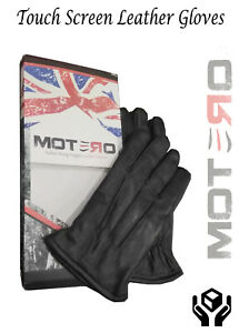 Mens Italian Sheep nappa Leather Touch Screen Fleece Lined Winter Leather gloves