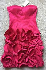 NWT $198 Max And Cleo Women's Cherry Red Floral Strapless Dress Size 2
