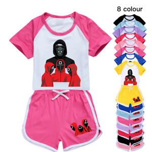 Squid Game Kids pajamas Set Girls Casual T Shirt Tops + Shorts 2PCS Sports Sets