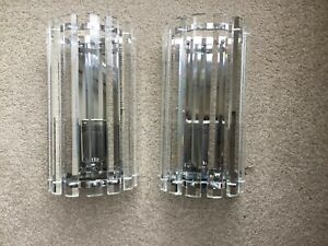 Pair of Glass Wall Lights - excellent condition. E14 Candle Bulbs. 23 cm high