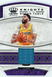 ANTHONY DAVIS GAME WORN PATCH 2019-20 CROWN ROYALE KNIGHTS OF THE ROUND TABLE