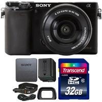 Sony Alpha A6000 Wi-Fi Digital Camera Black w/ 16-50mm Lens and 32GB Memory Card