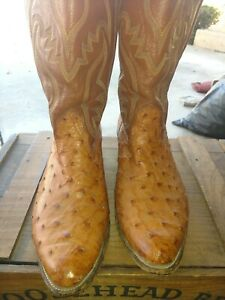 NOCONA WESTERN COWBOY BOOTS QUILL OSTRICH SIZE 11D, VINTAGE, BEAUTIFUL USA