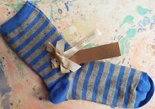 03101f8209682 Alto Milano Womens Wool Short Socks Lurex Stripe Blue One Size UK 3-7 EU