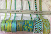 AQUA & PARROT GREEN Polyester 7-20mm Wide - 2 3 & 5 Metres 7 Design Style Choice