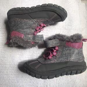 Pink & Gray Fur Booties Garanimals toddler size 6 girls boots