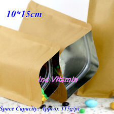 50 Tea Food Aluminum Foil Lined Kraft Paper Bag Reusable Seal Zip Lock 10X15cm