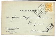 Treinblokstempel Helder - Amsterdam B Stations Restauratie Alkmaar 1925