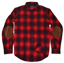 Polo Ralph Lauren Mens Wool Flannel Elbow Pad Shirt Plaid Red Black Medium