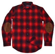 Polo Ralph Lauren Mens Wool Flannel Elbow Pad Shirt Plaid Red Black Medium