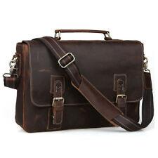 "Gents Vintage Cow Real Leather Briefcase Messenger Bag 15"" Laptop Case Crossbody"
