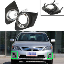 2x For 2011-2013 Toyota Corolla Front Bumper Fog Light Grille Cover Black Chrome