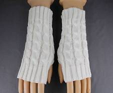 Cream cable knit arm warmer fingerless gloves warmers open thumb texting