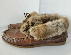 Frye Mens 11.5 Homer Chukka Slippers Brown Leather Fur Lined Trim Moc Toe Shoes