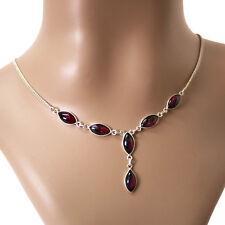 Granat Collier Kette Silber 925 Echt Sterlingsilber Halskette Damen Rot  ts