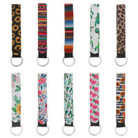 Leopard Printed Keys Holder Keychain Wristlet Key Chain Lanyard Charms Keyrings