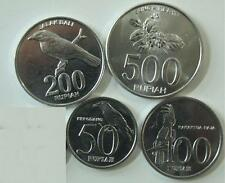 INDONESIA 4-PIECE UNCIRCULATED COIN SET, 50 TO 500 RUPIAH