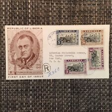 1945 Liberia FDC to USA Franklin Roosevelt FDR Reviewing Troops Set of 2