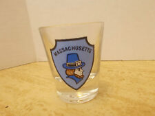 Massachusetts Shot Glass, Features Blue Shield with picture of a Pilgram