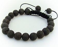 Para Hombre Shamballa Pulsera 10mm Black Fire Rock granos de piedra