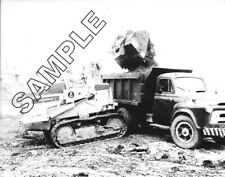 1956-1958 INTERNATIONAL S-Series Tandem Dump & HOUGH H-12 Loader 8x10 B&W Photo