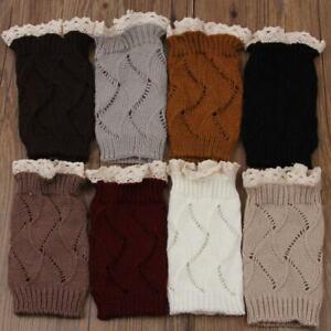 Lace Boot Topper Knit Leg Warmers Elastic Warm Short Solid Boot Knit Cuffs BT