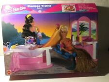 BARBIE DOLL SET 1996 ~ SHAMPOO N' STYLE SALON ~ Working Sink - Dresser - Chair +