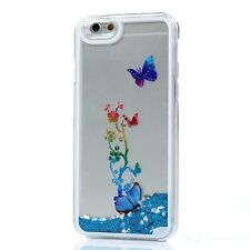 For iPhone 6+ / 6S+ PLUS - Hard Case Cover Blue Flowing Liquid Glitter Butterfly